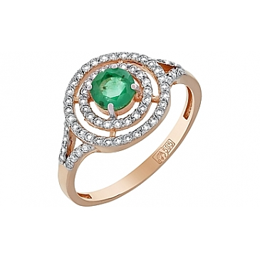 Кольцо с бриллиантом и изумрудом из красного золота 119140