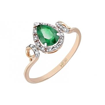 Кольцо с бриллиантом и изумрудом из красного золота 116591