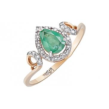 Кольцо с бриллиантом и изумрудом из красного золота 116590