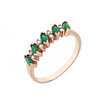 Кольцо с бриллиантом и изумрудом из красного золота 3078