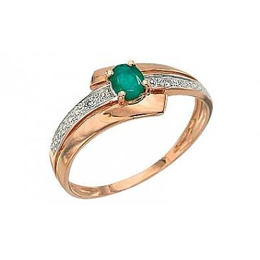 Кольцо с бриллиантом и изумрудом из красного золота 3084