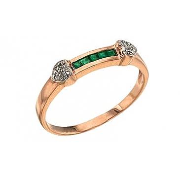 Кольцо с бриллиантом и изумрудом из красного золота 3100