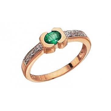 Кольцо с бриллиантом и изумрудом из красного золота 3104