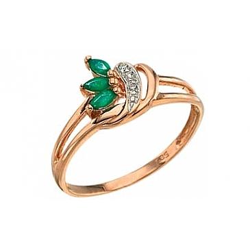 Кольцо с бриллиантом и изумрудом из красного золота 3118