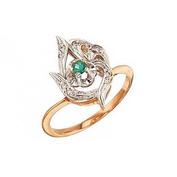 Кольцо с бриллиантом и изумрудом из красного золота 29596