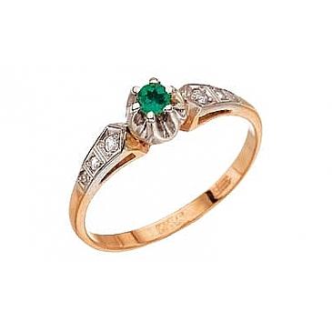 Кольцо с бриллиантом и изумрудом из красного золота 4202