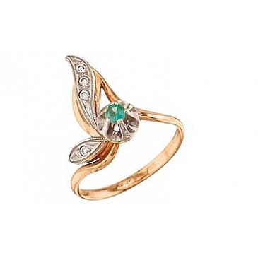 Кольцо с бриллиантом и изумрудом из красного золота 4204