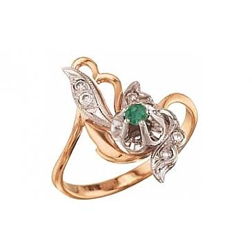 Кольцо с бриллиантом и изумрудом из красного золота 4205