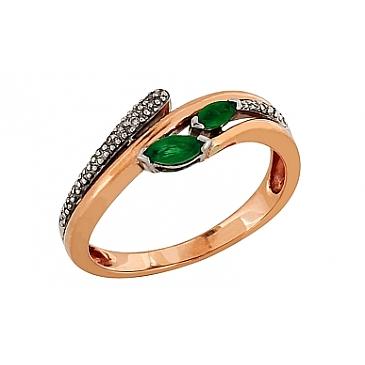 Кольцо с бриллиантом и изумрудом из красного золота 34459