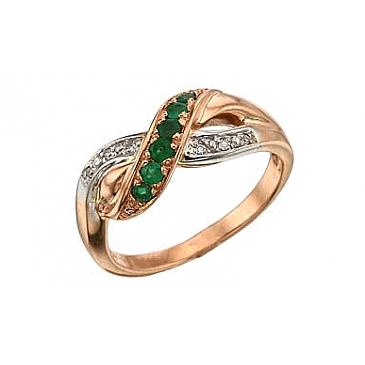Кольцо с бриллиантом и изумрудом из красного золота 32801