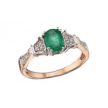 Кольцо с бриллиантом и изумрудом из красного золота 39990