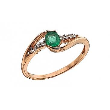 Кольцо с бриллиантом и изумрудом из красного золота 62748
