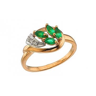 Кольцо с бриллиантом и изумрудом из красного золота 64215