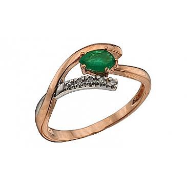 Кольцо с бриллиантом и изумрудом из красного золота 64376