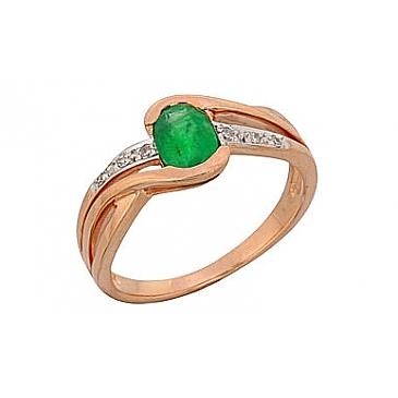 Кольцо с бриллиантом и изумрудом из красного золота 68870