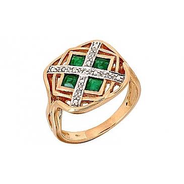 Кольцо с бриллиантом и изумрудом из красного золота 68988