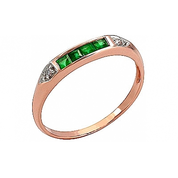 Кольцо с бриллиантом и изумрудом из красного золота 3133