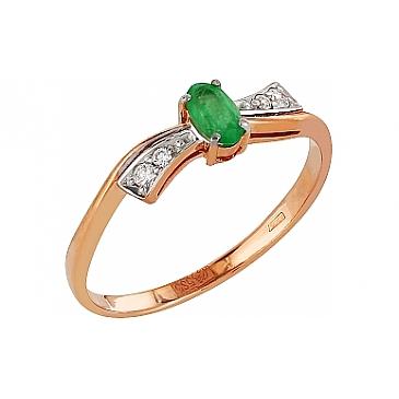 Кольцо с бриллиантом и изумрудом из красного золота 83973