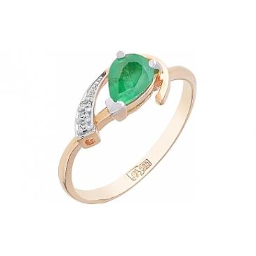 Кольцо с бриллиантом и изумрудом из красного золота 84445