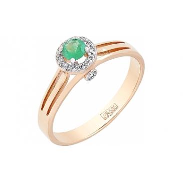 Кольцо с бриллиантом и изумрудом из красного золота 84700