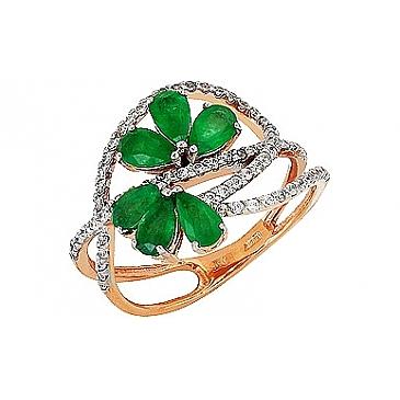 Кольцо с бриллиантом и изумрудом из красного золота 84793