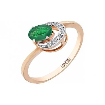 Кольцо с бриллиантом и изумрудом из красного золота 84903
