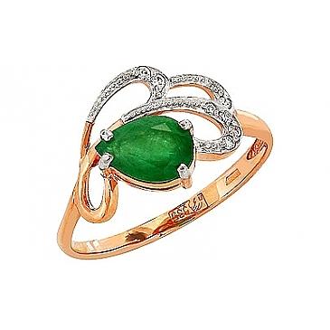 Кольцо с бриллиантом и изумрудом из красного золота 84904