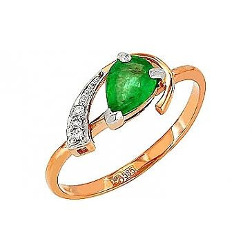 Кольцо с бриллиантом и изумрудом из красного золота 85156