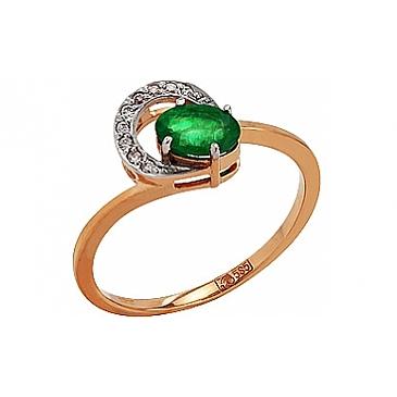 Кольцо с бриллиантом и изумрудом из красного золота 85235
