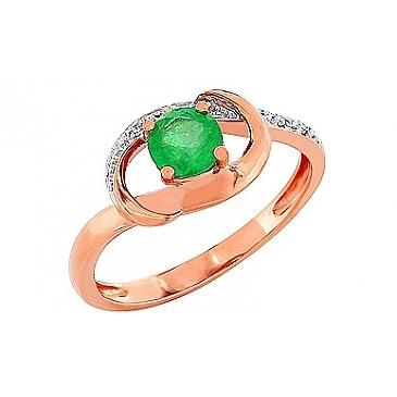 Кольцо с бриллиантом и изумрудом из красного золота 84246