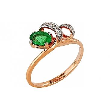 Кольцо с бриллиантом и изумрудом из красного золота 96876