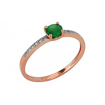 Кольцо с бриллиантом и изумрудом из красного золота 84977
