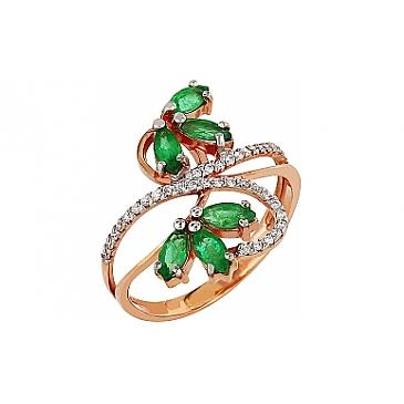 Кольцо с бриллиантом и изумрудом из красного золота 85883