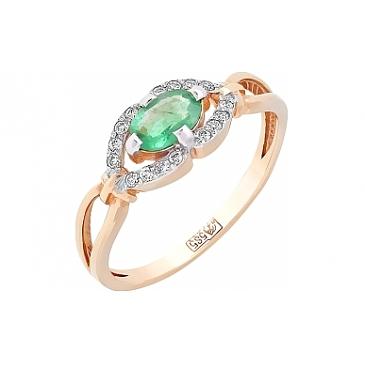 Кольцо с бриллиантом и изумрудом из красного золота 96394