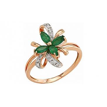 Кольцо с бриллиантом и изумрудом из красного золота 96290