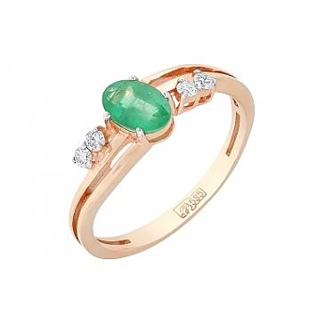 Кольцо с бриллиантом и изумрудом из красного золота 85157