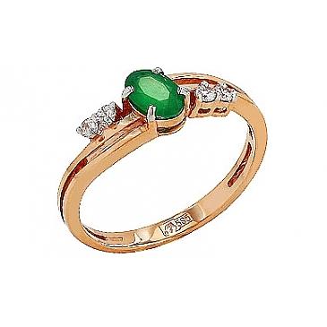 Кольцо с бриллиантом и изумрудом из красного золота 86149