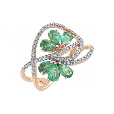 Кольцо с бриллиантом и изумрудом из красного золота 95739