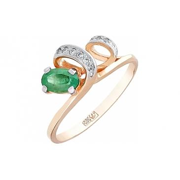 Кольцо с бриллиантом и изумрудом из красного золота 96700