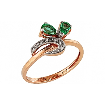 Кольцо с бриллиантом и изумрудом из красного золота 98899