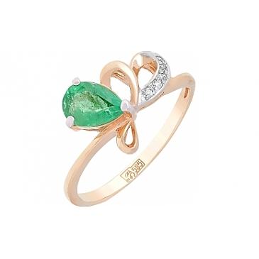Кольцо с бриллиантом и изумрудом из красного золота 98949
