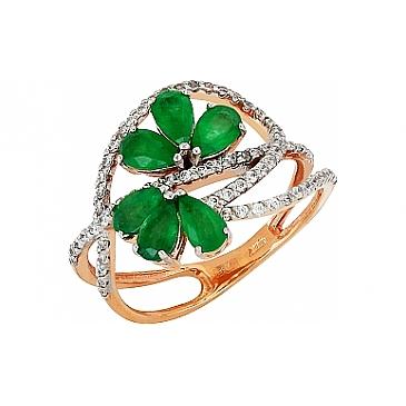 Кольцо с бриллиантом и изумрудом из красного золота 100005