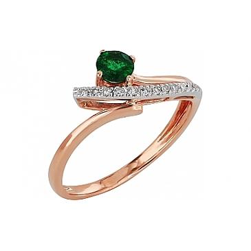 Кольцо с бриллиантом и изумрудом из красного золота 99154