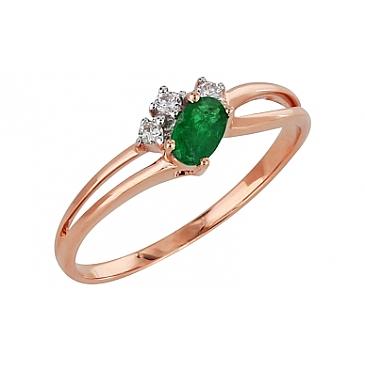 Кольцо с бриллиантом и изумрудом из красного золота 99203