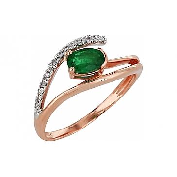 Кольцо с бриллиантом и изумрудом из красного золота 99160