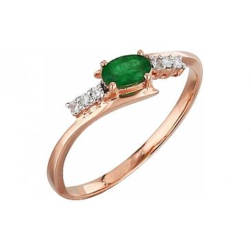 Кольцо с бриллиантом и изумрудом из красного золота 99113