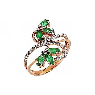 Кольцо с бриллиантом и изумрудом из красного золота 96964