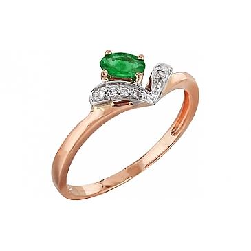 Кольцо с бриллиантом и изумрудом из красного золота 99206