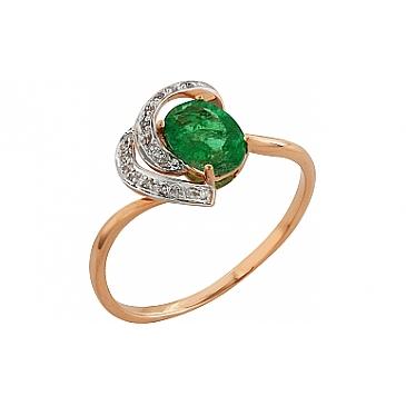 Кольцо с бриллиантом и изумрудом из красного золота 99213