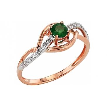 Кольцо с бриллиантом и изумрудом из красного золота 99199